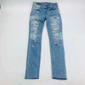 American Eagle Womens Jeans 2 Blue Hi-Rise Jegging